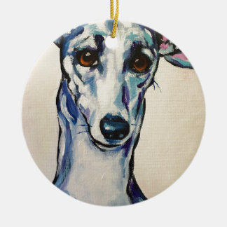 Italian Greyhound Round Ceramic Decoration