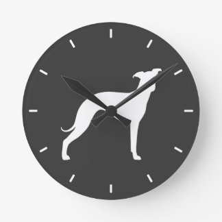 Italian Greyhound Silhouette Round Clock