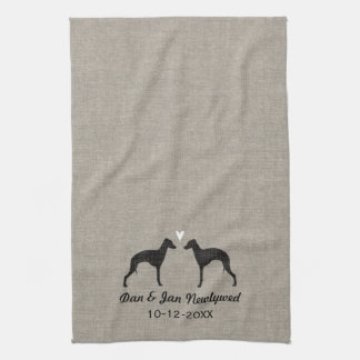 Italian Greyhound Silhouettes with Heart Tea Towel