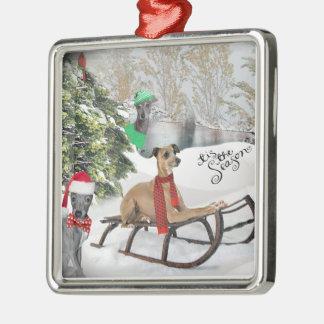 Italian Greyhound Snow Play Ornament