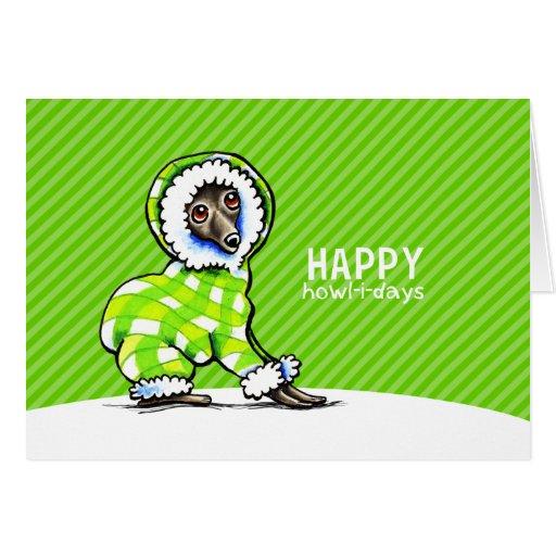 Italian Greyhound Snowsuit Christmas Modern Green Greeting Cards