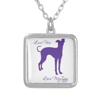 Italian Greyhound Square Pendant Necklace