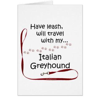 Italian Greyhound Travel Leash Greeting Card