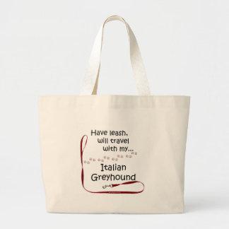 Italian Greyhound Travel Leash Jumbo Tote Bag