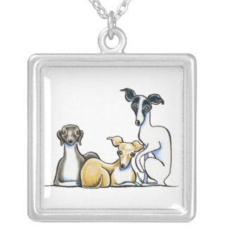 Italian Greyhound Trio Personalized Necklace