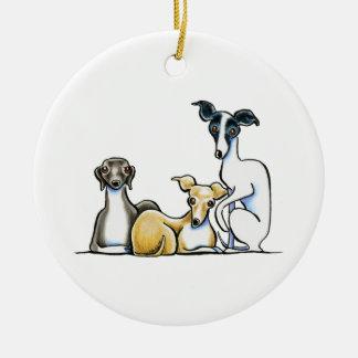 Italian Greyhound Trio Round Ceramic Decoration