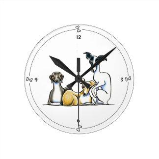 Italian Greyhound Trio Round Clock