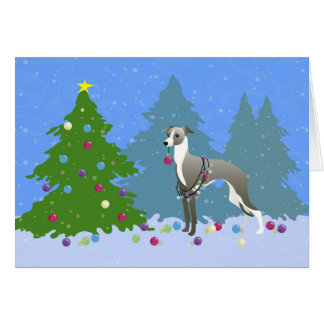 Italian Greyhound Whippet Decorating Christmas Tre Card
