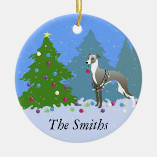 Italian Greyhound Whippet Decorating Christmas Tre Christmas Ornament