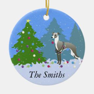 Italian Greyhound Whippet Decorating Christmas Tre Round Ceramic Decoration