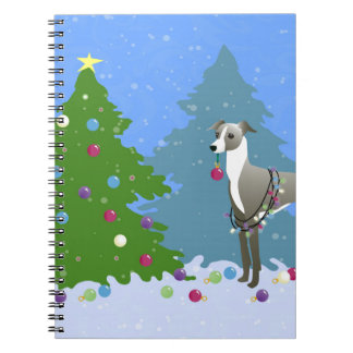 Italian Greyhound Whippet Decorating Christmas Tre Spiral Notebook