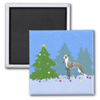 Italian Greyhound Whippet Decorating Christmas Tre Square Magnet