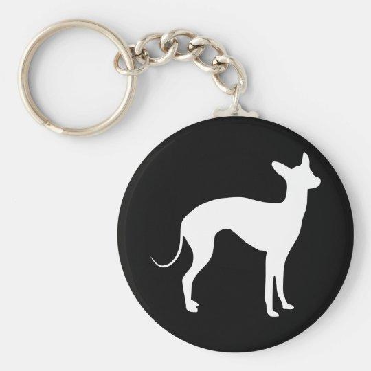 Italian Greyhound White on Black Basic Round Button