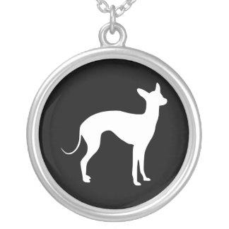 Italian Greyhound White on Black Pendant