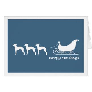Italian Greyhounds Pulling Santa's Sleigh Card