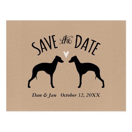 Italian Greyhounds Wedding Save the Date Postcard