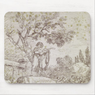 Italian Guitarist Playing for Three Girls Mouse Pad