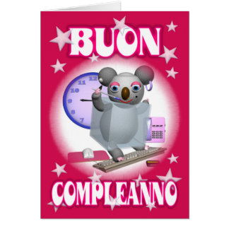 Italian Happy Birthday-Buon Compleanno -Koala Card