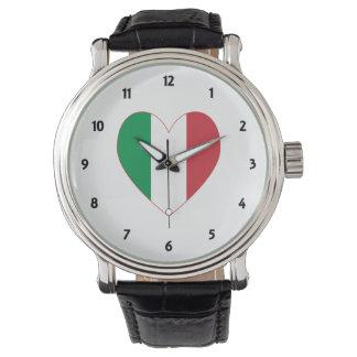 Italian Heart Flag Red Border Wrist Watches