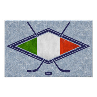 Italian Hockey Flag Logo Poster Print