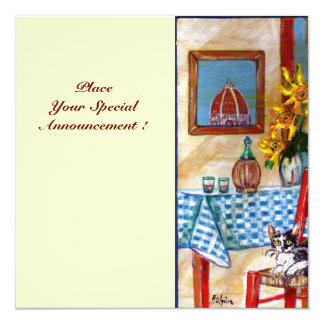 "ITALIAN KITCHEN IN FLORENCE, Red Blue 5.25"" Square Invitation Card"