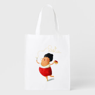 Italian Lady Pasta Lover Reusable Grocery Bag
