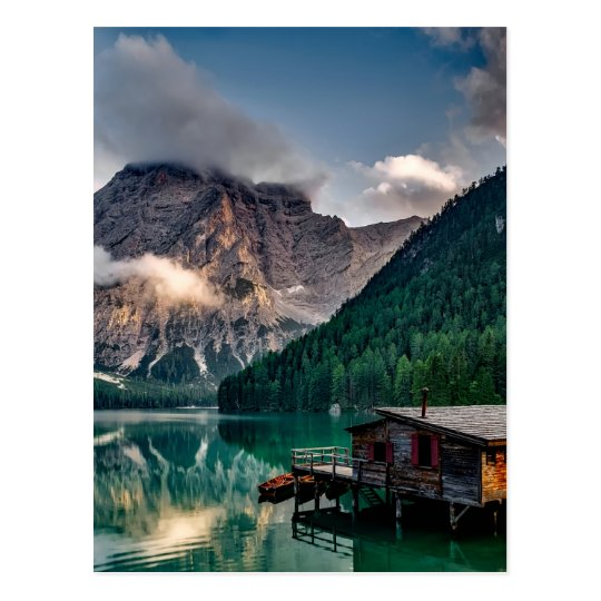 Italian Lake-Side Mountain Cabin Postcard