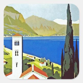 Italian Lakes District Vintage Travel Poster Square Sticker