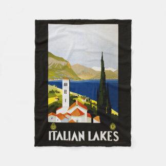 Italian Lakes vintage travel fleece blanket