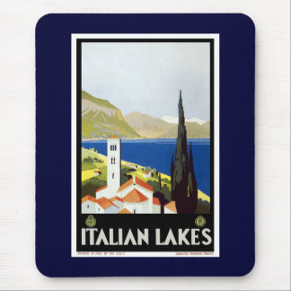 """Italian Lakes"" Vintage Travel Poster Mouse Mat"