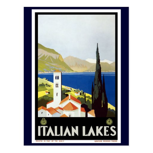 """""""Italian Lakes"""" Vintage Travel Poster Post Cards"""