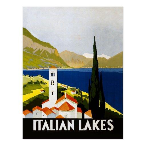 Italian Lakes Vintage Travel Poster Post Card