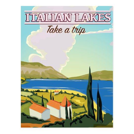 Italian lakes vintage travel poster postcard