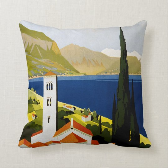 Italian Lakes vintage travel throw pillow