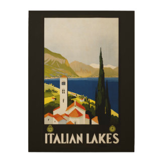 Italian Lakes vintage travel wood canvas