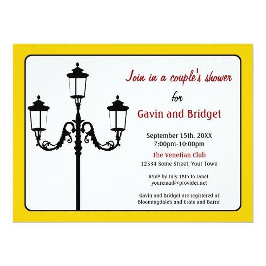 Italian Lamp Post Silhouette Invitation in Yellow