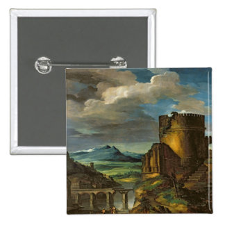 Italian Landscape or, Landscape with a Tomb 15 Cm Square Badge