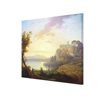 Italian Landscape, Setting Sun Canvas Print