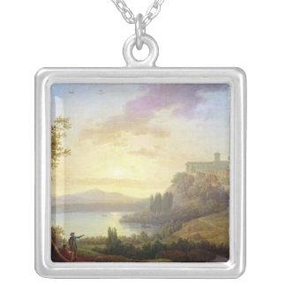 Italian Landscape, Setting Sun Silver Plated Necklace