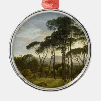 Italian Landscape Umbrella Pines by Hendrik Voogd Silver-Colored Round Decoration