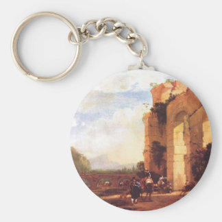 Italian Landscape with the Ruins of a Roman Bridge Basic Round Button Key Ring