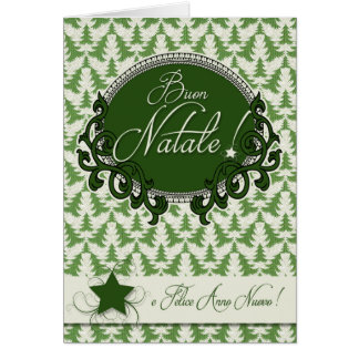 Italian Language - Retro Green Christmas Trees Card