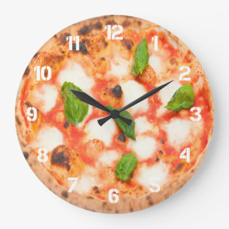 italian margherita pizza photo large clock