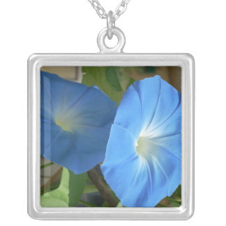 italian morning glories square pendant necklace