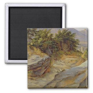 Italian Mountain Landscape, c.1824 Square Magnet