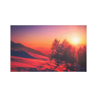 Italian Mountain Sunset - Vivid Red Canvas Print