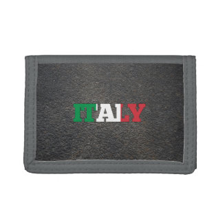 Italian name and flag tri-fold wallet
