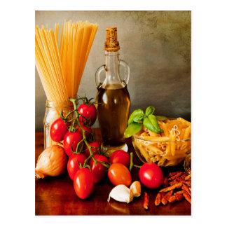 Italian pasta arrabbiata postcard