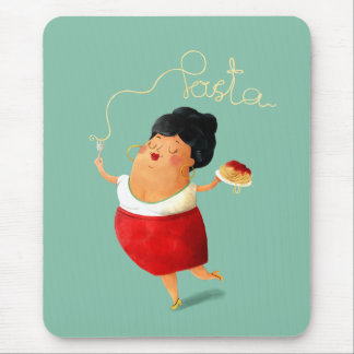 Italian Pasta loving Lady Mouse Pad
