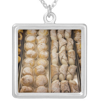 Italian pastries square pendant necklace